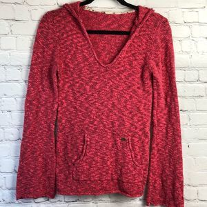 Roxy Pink hooded pullover sweater. Small